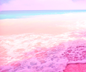 pink, beach, and sea image