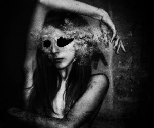 black and white and horror image