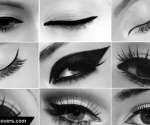 eyes, eyeliner, and black image