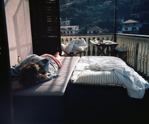 girl, bed, and sleep image