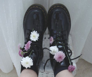 black, flower, and shoes image
