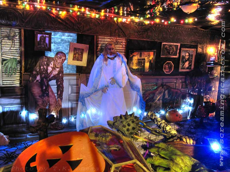 Amazing Halloween Party Decorations Inside House With Zombie Theme And Fancy Lighting Of Horrible Decorating Ideas Ways To Decorate Your