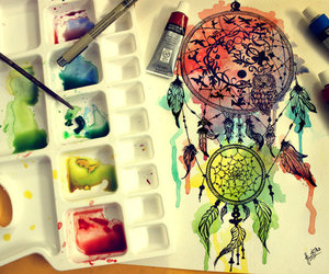 color, drawing, and dream catcher image