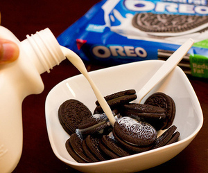 oreo, milk, and food image
