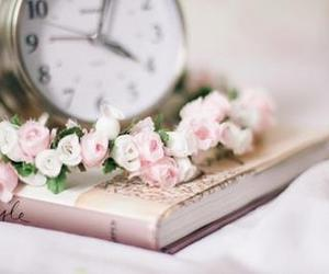 flowers, book, and clock image