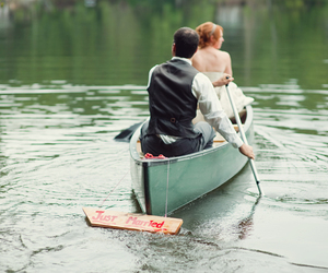boat, couple, and just married image