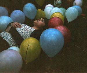 girl, balloons, and vintage image