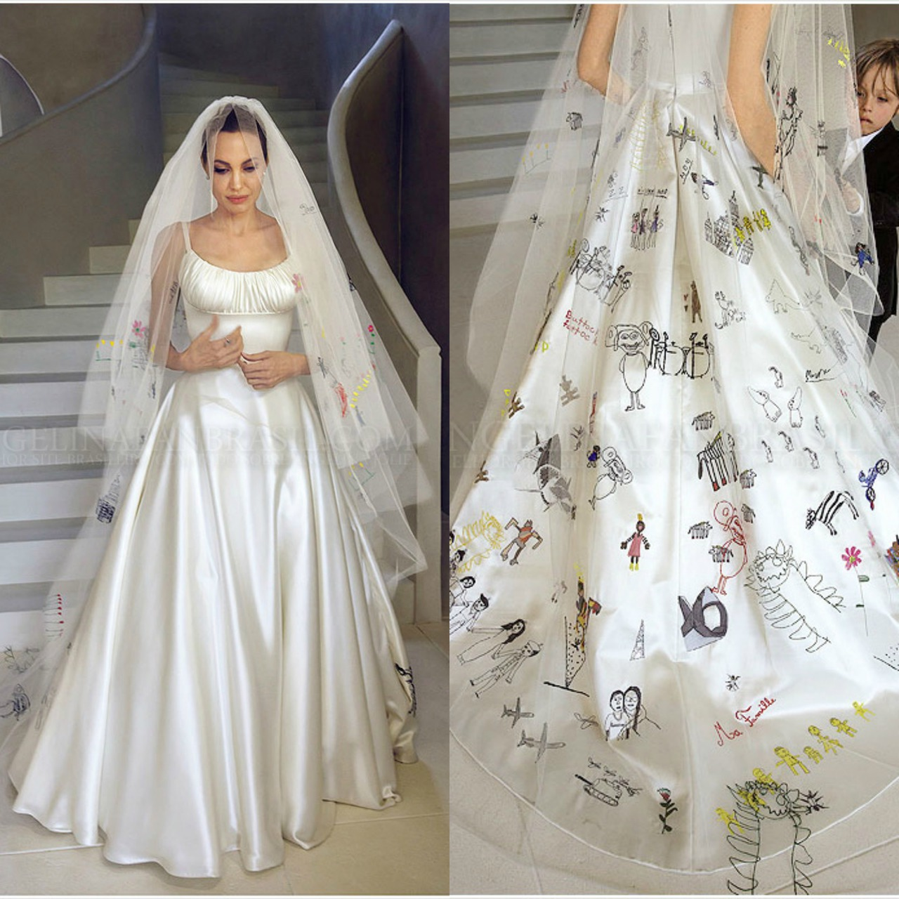 she has draWINGS BY HER CHILDREN SEWN INTO HER WEDDING DRESS this is ...