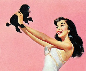 Pin Up, vintage, and dog image