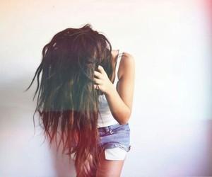 girl, long hair, and shorts image