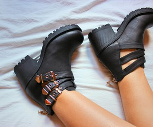 bed, black, and boots image