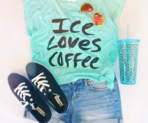 blue, outfit, and coffee image