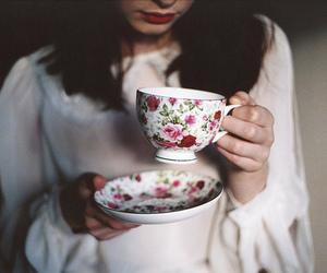 girl, tea, and vintage image