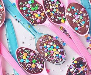 chocolate, spoon, and sweet image
