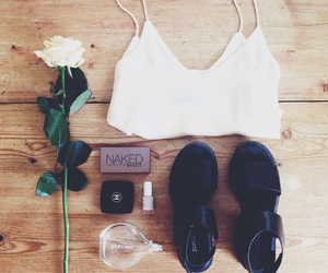 outfit, rose, and makeup image