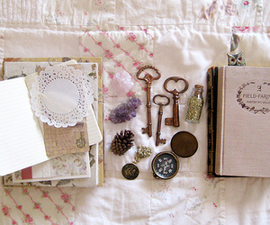 key, book, and vintage image
