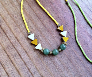 green necklace, triangle necklace, and boho chic image