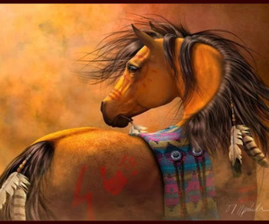 beautiful, feather, and horse image