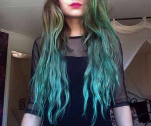 bluehair, fashion, and girl image