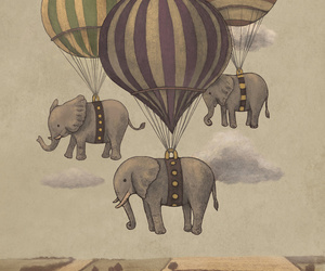 elephant, balloons, and art image