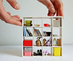 art, miniature, and bookshelf image