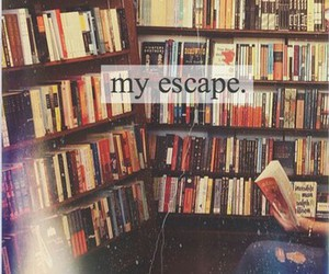 book, escape, and library image
