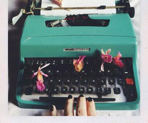 flower, mint, and type writer image