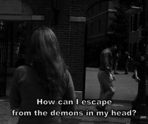 demon, quote, and black and white image