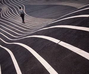 road, lines, and boy image