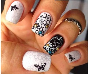 nail art, nails, and butterfly image