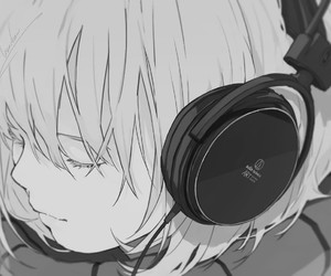 anime, music, and headphones image