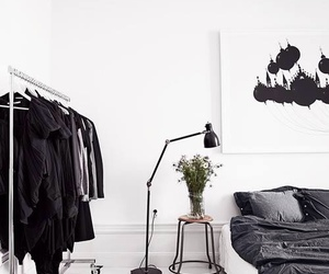bedroom, interior, and black image