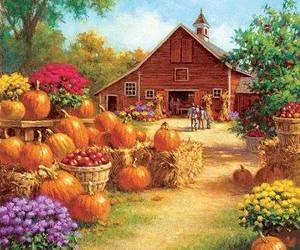 pumpkins, art, and barns image