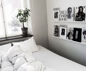 white, bed, and room image