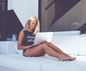 blond, hair, and laptop image