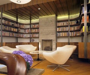 bookshelf, furniture, and library image