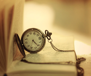 book, time, and clock image