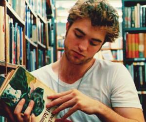 robert pattinson, book, and boy image
