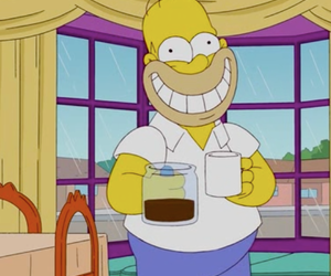 simpsons, homer simpson, and coffee image