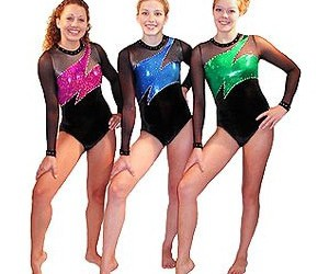 gymnastics, leotards, and blue pink and green image