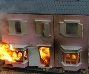 fire, on fire, and house image