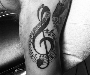music, music notes, and tattoo image
