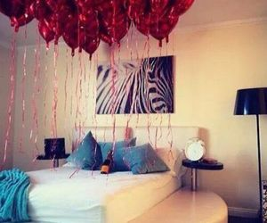 love, balloons, and bedroom image