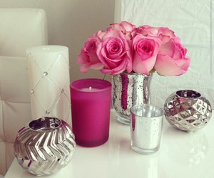 pink roses, silver, and white candles image