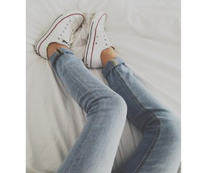 converse, jeans, and white image