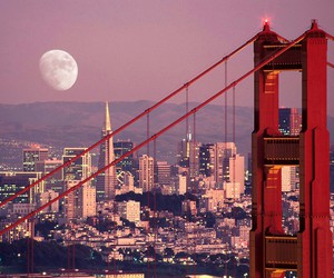 golden gate bridge, moon, and travels image