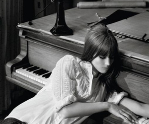 black and white, girl, and piano image
