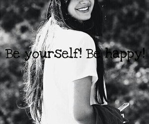 be yourself, black and white, and happiness image
