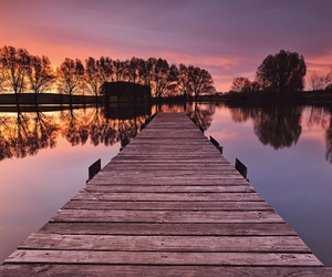 sunset, lake, and nature image