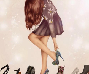 shoes, girl, and drawing image
